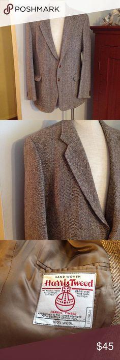 "Vintage Lite Tan Herringbone Harris Tweed Jacket Very nice vintage Harris Tweed. Light tan/brown herringbone with some colorful flecks. Marked size 44L. Great condition. Chest 46"" Length 31"" Sleeves 26"". Please check the measurements Harris Tweed Suits & Blazers Sport Coats & Blazers"