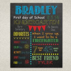 First Day of School \ Last Day of School Printable First Day of School Sign by TealOliveDesigns on Etsy, 8x10 $6.00 You can create memories and traditions with this fun and custom First Day of School Sign. Have your little one hold as a photo prop. My shop has them as an 11x14 and 8x10!