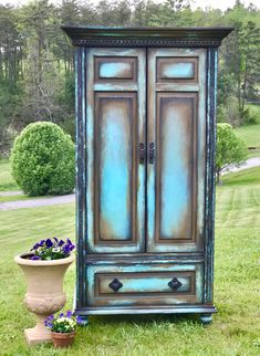 Boho Armoire Farmouse Painted Wardrobe Old World Media Console Shabby Chic Storage Cabinet French Country Hutch Refurbished Furniture, Paint Furniture, Shabby Chic Furniture, Rustic Furniture, Antique Furniture, French Furniture, Furniture Ads, Furniture Removal, Garden Furniture