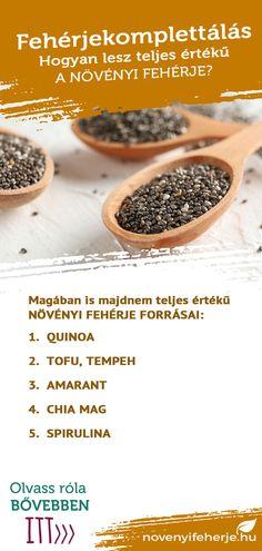 5 étel, amely már önmagában is közel teljes értékű aminosavprofillal rendelkezik: 1. Quinoa 2. Tofu, tempeh 3. Amarant 4. Chia mag 5. Spirulina További tippekért keresd fel weboldalunkat! #protein #fehérje #aminosav #aminosavprofil #edzés #sport #sporttáplálkozás #egészség #étkezés #táplálkozás #étrend #növényi #növényiétrend #vegan #veganetrend #veganprotein #novenyifeherje #növényifehérje #vegánfehérje Tempeh, Tofu, Quinoa, Protein