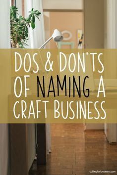 Dos and Donts for Naming Your Craft Business - Cutting for Business A list of dos and dont's for naming your Silhouette Portrait or Cameo and Cricut Explore or Maker craft business. Craft Business, Business Design, Business Tips, Diy Business Ideas, Business Marketing, Online Business, Homemade Business, Business Video, Business Inspiration