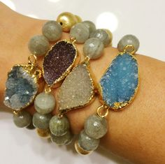 Beautiful druzy stackables. The more the merrier! Plus 20% of the proceeds go to the a21 fund. #shopbracha  2 Shea Boutique in Dallas, Texas
