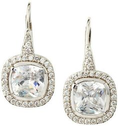 CZ by Kenneth Jay Lane Pave Cushion-Cut Cubic Zirconia Earrings
