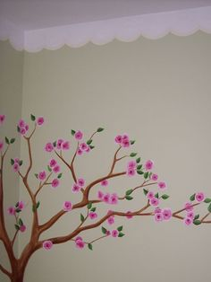 Cherry blossom tree with scalloped border mural