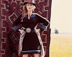 Описание вязания на спицах шоколадного платья из журнала «Вязание. Burda» №4/2013
