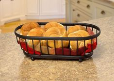 This Spectrum Diversified Ashley Bread Basket is a practical and transitional serving piece. Its open steel wire design makes this bread basket a better. Kitchen Dining, Kitchen Decor, Basket Tray, Steel Material, Freshly Baked, Plastic Laundry Basket, Bread Baking, Kitchen Countertops, Barrel