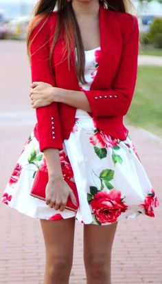 floral dress + blazer. Cute! love the style