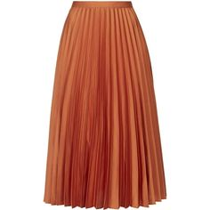 TOPSHOP Satin Pleated Midi Skirt ($84) ❤ liked on Polyvore featuring skirts, terracotta, dressy skirts, pleated skirt, pleated midi skirt, red knee length skirt and twisted skirt
