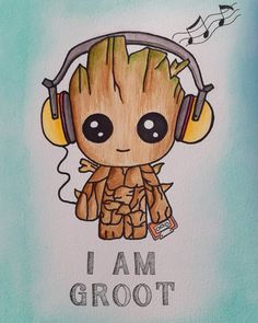 My little baby groot, loved this buddy. The cute music lover🌿🌳 My little baby groot, loved this buddy. The cute music lover🌿🌳 Cartoon Wallpaper Iphone, Cute Disney Wallpaper, Cute Cartoon Wallpapers, Wallpaper Backgrounds, Cute Disney Drawings, Kawaii Drawings, Cartoon Drawings, Drawing Disney, Cute Drawings Of Love
