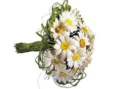 Daisy Bouquet - Paper Flowers - Bridal Bouquet with Yellow Vintage Buttons and Ivory Cream Rice Paper on Etsy, $115.00