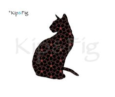 Sitting Siamese cat applique outline template silhouette - use for applique, stencil, cards, napkins, tablecloths etc. £1.50, via Etsy. © Kip & Fig 2012