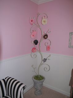DIY hair bow tree. Made from old garden trellis.