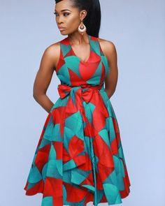 Melia cross back dress(Green) by enagancio - Mid-length Dresses - Afrikrea African Fashion Ankara, Latest African Fashion Dresses, African Print Fashion, Africa Fashion, Short African Dresses, African Print Dresses, African Dress Designs, African Design, Traditional African Clothing