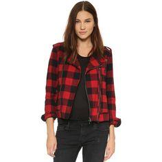 Hudson Moto Jacket ($255) ❤ liked on Polyvore featuring outerwear, jackets, tundra plaid, plaid jacket, flannel jacket, black jacket, motorcycle jacket and black motorcycle jacket
