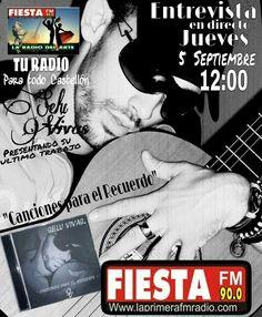 Jueves 5 a las 12:00 de la mañana JUAN BERNABE entrevista a  SELU VIVAS en FIESTA FM 90.0 fm www.laprimeraradiofm.com
