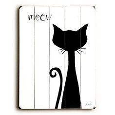 Meow by Artist Lisa Weedn 14x20 Planked Wood Sign Wall Decor Art * Want to know more, click on the image.
