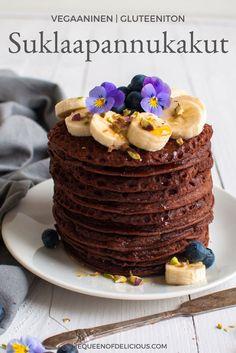 Vegaaniset ja gluteenittomat suklaapannukakut | Terveellinen aamiainen | Sokeriton | Gluteeniton