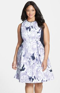 Ellen Tracy Floral Print Fit & Fare Dress (Plus Size) available at #Nordstrom