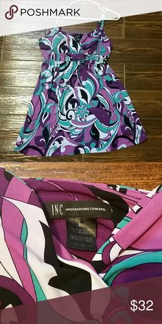 *one day sale* INC dress XL XL INC International Concepts purple & teal  dress. Hangs just above the knee. Worn a couple of times and washed, line dryed, in fantastic shape. Stylish and comfy with adjustable straps and lightly molded cups. Empire waist. INC International Concepts Dresses Mini