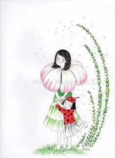 Illustrazione,mamma,fiore,coccinella,Monila Handmade