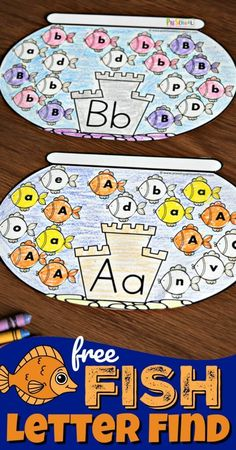 FREE Fish Letter Find - super cute, free printable , interactive alphabet worksheet for preschool and kindergarten age kids to help them work on letter recognition by identifying upper and lowercase letter fishes רעיון למשחק זיהוי אותיות Alphabet Crafts, Letter A Crafts, Alphabet Worksheets, Alphabet Games, Handwriting Worksheets, Handwriting Practice, Alphabet Letters, Preschool Learning Activities, Free Preschool