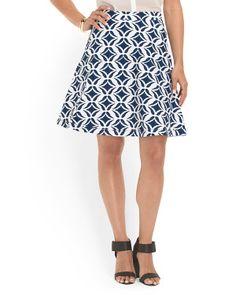 Cotton Blend Ikat A Line Skirt
