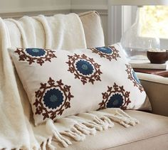 Beautiful Embroidered Pillow. If I ever learn embroidery...