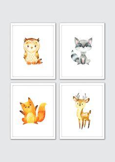 Woodland Nursery, Woodland Nursery Art Prints, Baby Woodland Animals, Forest Watercolor Animals Wall Art, Kids Art, Raccoon, Deer, Fox, Owl by RomeCreations on Etsy