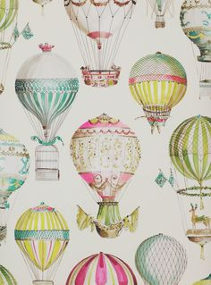 View L'ENVOL 03079 by Manuel Canovas at Ethnic Chic. Worldwide Shipping Wallpapers Manuel Canovas Paper Fantasy / Graphics Large Pattern By The Roll Air Ballon, Hot Air Balloon, Of Wallpaper, Designer Wallpaper, Wallpaper Ideas, Ballon Illustration, Print Patterns, Nursery, Baby Shower