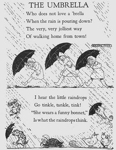 """Sing, Little Birdie"" by Gertrude E. Heath, Black and white illustrations by Helene Nyce, color bookplates by Jan Cragin. Nursery Rhymes Lyrics, Old Nursery Rhymes, Preschool Poems, Kids Poems, Poems About School, Lyric Poetry, Poetry For Kids, Pomes, Singing In The Rain"