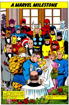 The Wedding Of Reed & Sue Richards By John Romita (1991) In the back left corner you can see Stan Lee & Jack Kirby looking through a window. They were denied entry into the wedding in Fantastic Four Annual #3 (1965).