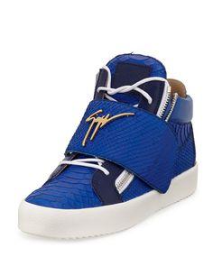 Logo Strap Embossed Leather Mid-Top Sneaker, Blue, Men's, Size: 42.5EU/9.5US - Giuseppe Zanotti