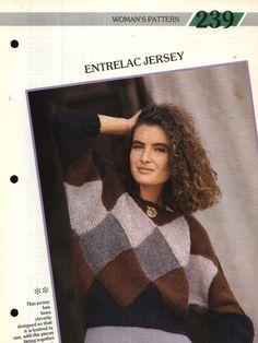 No. 239 Creative Knitting Woman's Pattern 239 : Entrelac Jersey (30-38in) Pamphlet – 1986 Creative Knitting, Pattern, Design, Women, Patterns, Model, Swatch, Woman