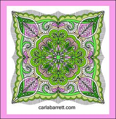 Digital quilt in pink/green colorway by Carla Barrett