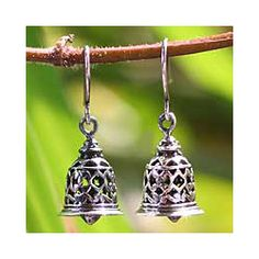 @Overstock - These handmade earrings will dress up any wardrobe perfectly. The sterling silver earrings come with a temple bell design with marvelous detail on the bells. The creator focuses a lot on handmade jewelry and puts a lot of effort in all his work.http://www.overstock.com/Worldstock-Fair-Trade/Sterling-Silver-Temple-Bell-Earrings-Thailand/4022691/product.html?CID=214117 $42.99