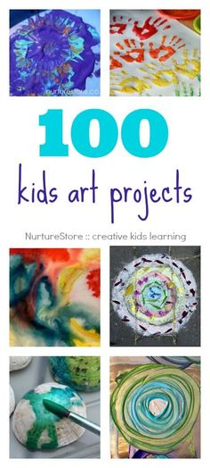 100 kids art projects, organised by material, technique, topic and season. Process art projects and crafts for kids