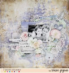 Dear crafty friends, I'm here today to share with you my monthly layout for 7 Dots Studio. It is called «Sharing is a Key to Happiness». L...