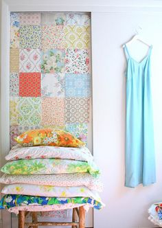 patchwork wallpaper...  would be cool inside craft closet.