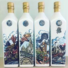JW BL Shanghai, Beijing, Goundong & Fujian City Edition Bourbon Whiskey, Scotch Whisky, Johnnie Walker Whisky, Logo Design, Graphic Design, Beijing, Shanghai, Wine Recipes, Cocktails
