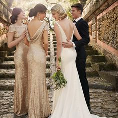 Old-hollywood glam meets modern with these stunning sequin bridesmaid dresses! #SorellaVita