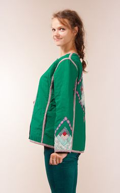 Green Patchwork Jacket / Quilted patchwork jacket / by vintagecode