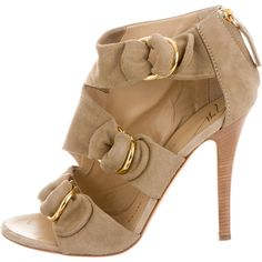 Pre-owned Giuseppe Zanotti Suede Multistrap Sandals ($145) ❤ liked on Polyvore featuring shoes, sandals, neutrals, tan sandals, suede shoes, buckle sandals, stacked heel shoes and tan shoes