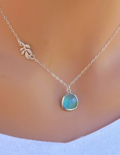 Aquamarine and Branch Sterling Silver Necklace