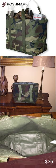 LL Bean Hunter's Tote Bag, Open Top All-purpose tote bag in on-trend camo print. Interior coating is durable and water resistant. Seams are all double-stitched and handled are tough. Excellent for any outdoor adventure whether you like to hit the trails or the beach! L.L. Bean Bags Totes