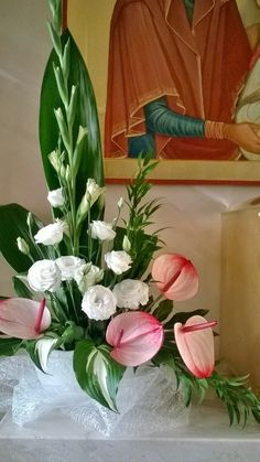 Tropical Flower Arrangements, Church Flower Arrangements, Rose Arrangements, Beautiful Flower Arrangements, Tropical Flowers, Fresh Flowers, Beautiful Flowers, Alter Flowers, Church Flowers