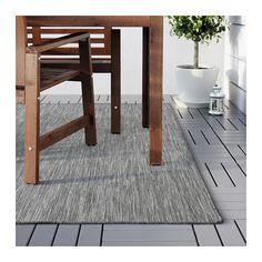 HODDE Tæppe, fladvævet, inde/ude, grå indendørs/udendørs, sort grå/sort 200x300 cm
