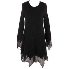 Preowned Chanel Black Mohair Asymmetrical Dress Long Sleeve Fall 2009 found on Polyvore featuring polyvore, women's fashion, clothing, dresses, black, informal dresses, long sleeve flare dress, long sleeve dress, flared dresses and long sleeve keyhole dress