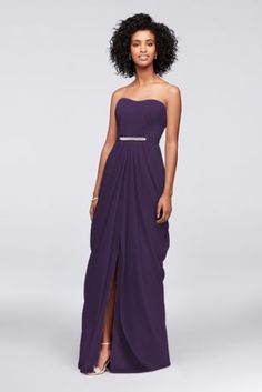 This strapless crinkle chiffon bridesmaid dress has a red-carpet-cool feel thanks to its crystal-topped beaded belt and drapey swag skirt.  Removable belt  Polyester  Back zipper; fully lined  Dry clean  Imported  Also available in extra length