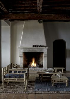 Stucco fireplace at La Granja Ibiza, a Design Hotels retreat on a 16th century…