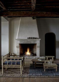 Stucco fireplace at La Granja Ibiza, a Design Hotels retreat on a 16th century…
